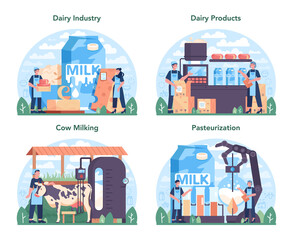 Fototapeta Dairy production industry set. Dairy natural products for breakfast obraz