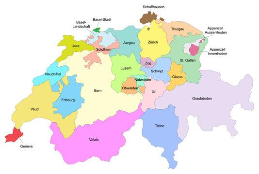 Carte de Suisse avec représentation des divisions par cantons - Libellés des états fédérés de la confédération suisse dans leurs langues officielles - Textes vectorisés et non vectorisés sur calques s
