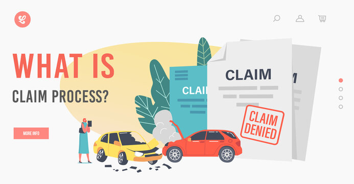 What is Claim Process Landing Page Template. Female Character Claim Insurance for Car Accident and Property Protection