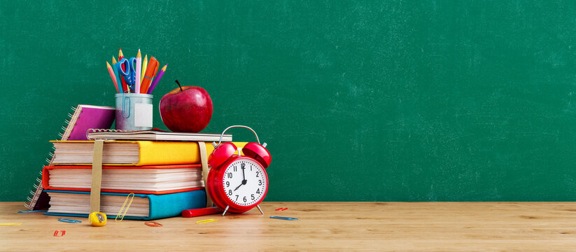 Ready for school concept background with books, alarm clock and accessory 3D Rendering, 3D Illustration