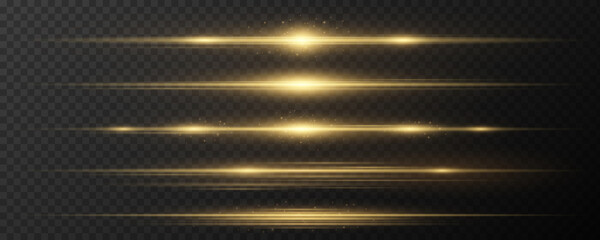 Fototapeta Set of horizontal golden light effects on a dark transparent background. Collection of luxurious beams. Bright rays with glowing dust. Optical glare. Vector obraz