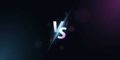 Fototapeta Versus background. VS screen for sport games, match, tournament, e-sports competitions, martial arts, fight battles. Light effect with cartoon lightning. Game concept. Vector obraz
