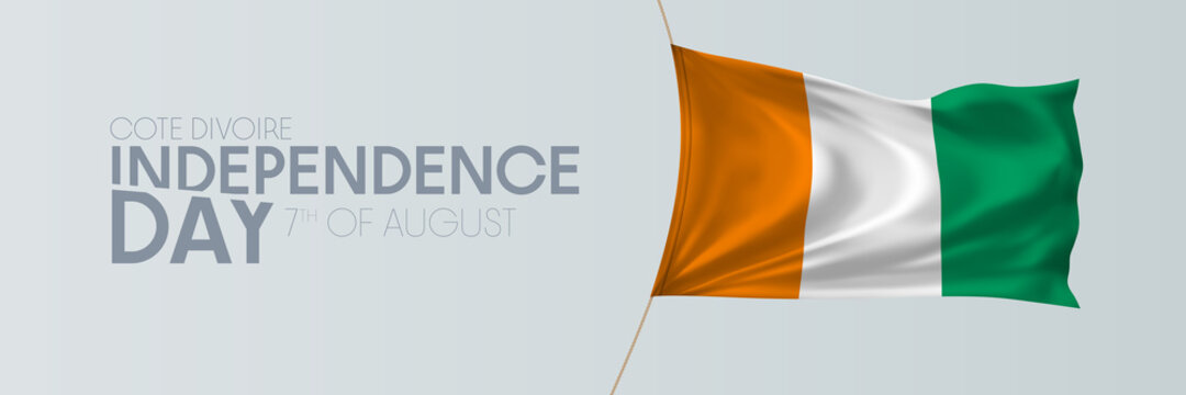 Cote Divoire independence day vector banner, greeting card