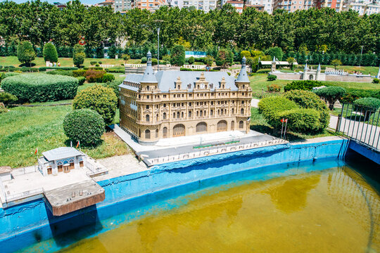 Istanbul, Turkey-July 12, 2017: reduced replica of the Haydarpasa Train Station and Sea port. Miniaturk Park is located in Istanbul