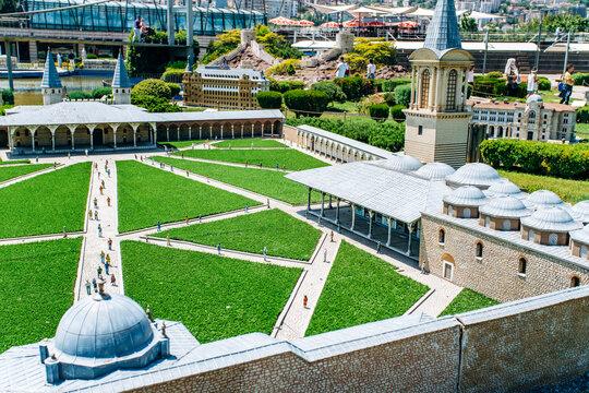 Istanbul, Turkey-July 12, 2017: exact copy Topcapi palace in miniaturk Park