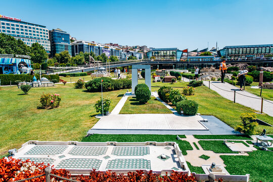 Istanbul, Turkey-July 12, 2017: exact copy of monument to the martyrs of canakkale in miniaturk Park in reduced form