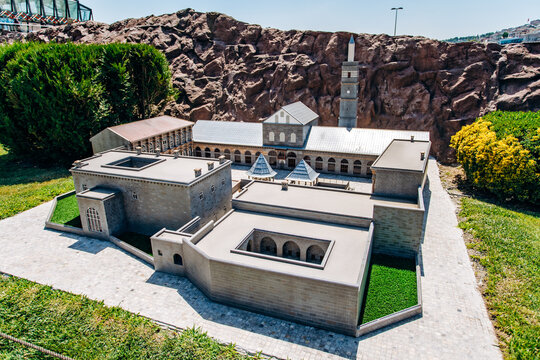 Istanbul, Turkey-July 12, 2017: exact copy of the Great mosque of Diyarbakir in miniaturk Park in reduced form