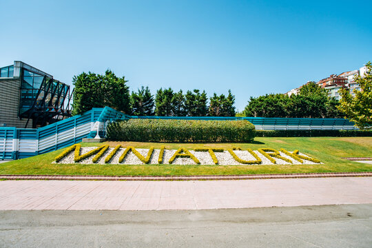Istanbul, Turkey-July 12, 2017: name of the Park miniaturk on the grass. Park reduced copies of attractions.