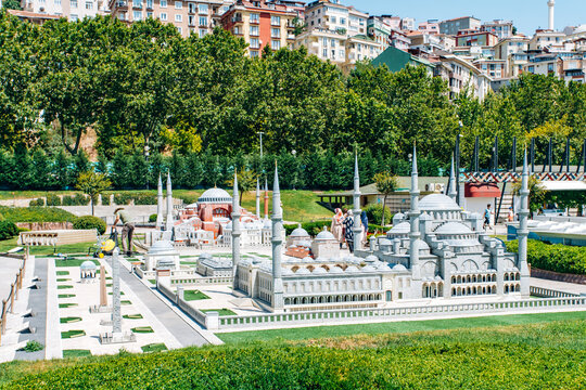 Istanbul, Turkey-July 12, 2017: exact copy Serpent Column in miniaturk Park