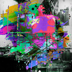 abstract dark background with colorful splashes