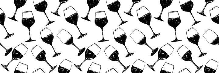 Fototapeta Seamless background pattern. Hand drawn wine glasses pattern. Background for decoration of textile garments, fabrics, packaging, web designs, brochures, posters. obraz