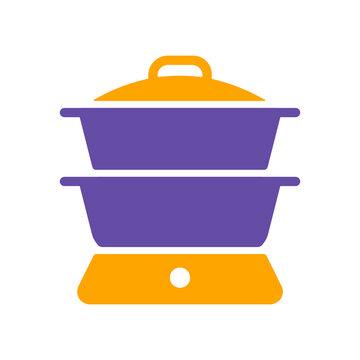 Double boiler vector glyph icon. Kitchen appliance