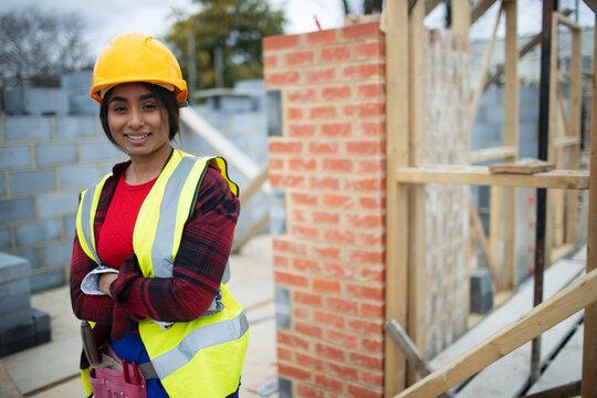 Portrait confident female construction site at construction site