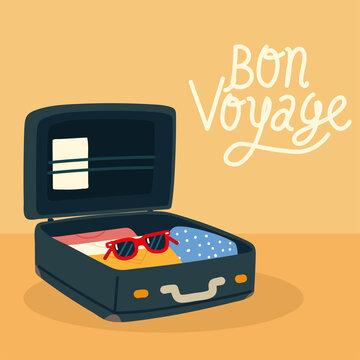 bon voyage open suitcase travel