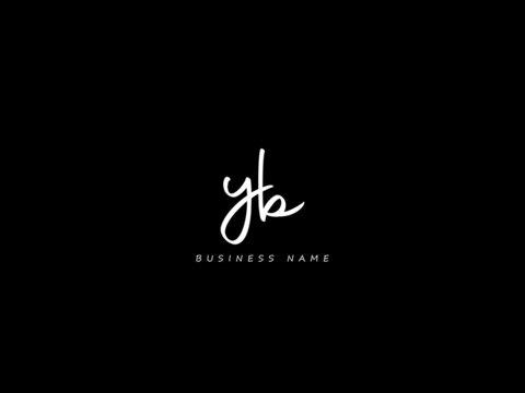 Letter YB Logo, Black signature yb logo icon vector image for business
