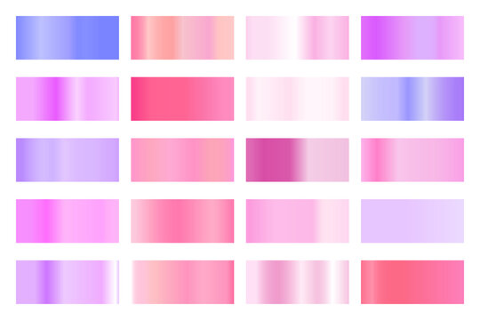 Metalic gradient collection with shiny colorful hologram. Holographic foil texture, gold rose, blue and golden gradation. Vector set for frame, ribbon, border, other design