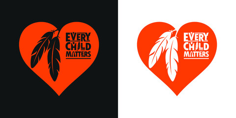 Fototapeta Every Child Matters and Orange Shirt Day Canada. 30 September. Memorial in tribute to aboriginal children whose remain found in Residential School in Kamloops, Canada. T-shirt Design. obraz