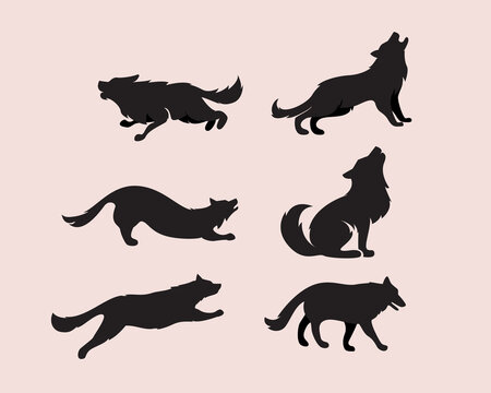 wolf silhouette set pose drawing art illustration