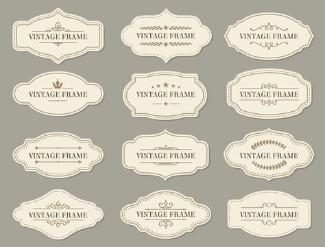 Vintage retro borders and frames, vector labels and ornate banners. Vintage frames and certificate ornament with floral filigree for menu or wedding greeting cards with royal crown and stars