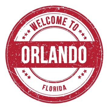 WELCOME TO ORLANDO - FLORIDA, words written on red stamp