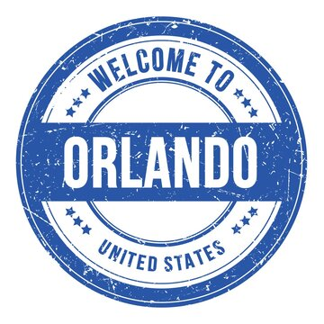 WELCOME TO ORLANDO - UNITED STATES, words written on light blue stamp