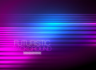 Bright neon color techno abstract background, shiny glowing neon lines in the dark background