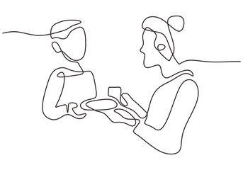 Continuous one line drawing of young mother is feeding her child. Happy Mother day card. Character mom with a kid isolated on white background. Family parenthood concept. Vector illustration