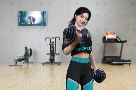 スポーツジムでダンベルで筋肉トレーニングをする黒髪の若い女性