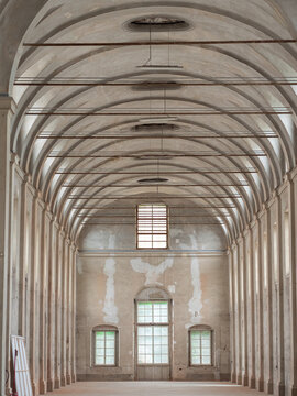 Parma, Italy - may 2021: Empty White Interiors without People in an old Hospital Building in Parma, Italy