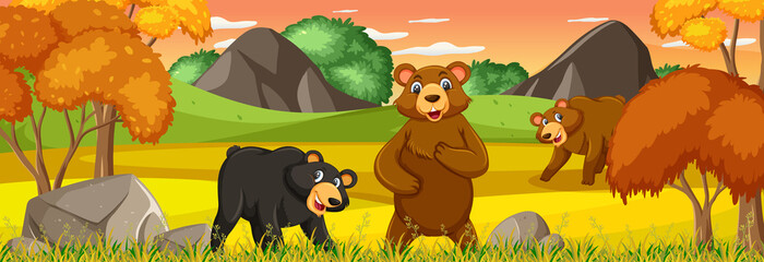 Forest panorama at sunset scene with many bears cartoon character