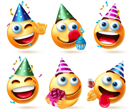 Smileys birthday vector set. Smiley emojis in party hats with gift, cupcake and confetti celebration elements for birth day happy and funny emoji character collection design. Vector illustration
