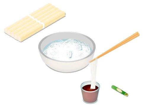 素麺の束と素麺のベクターイラスト