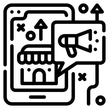 online shopping line icon