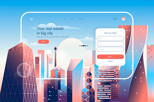 Real estate in big city concept. Real estate agency website layout. Construction, purchase and sale of apartments in skyscrapers buildings. Vector illustration in flat design for landing page