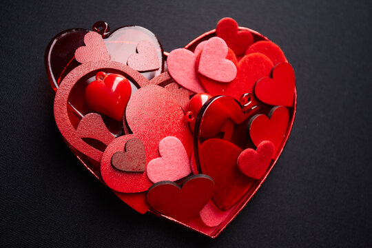 Red Hearts Background with Sweet Happy Valentines Day Greetings