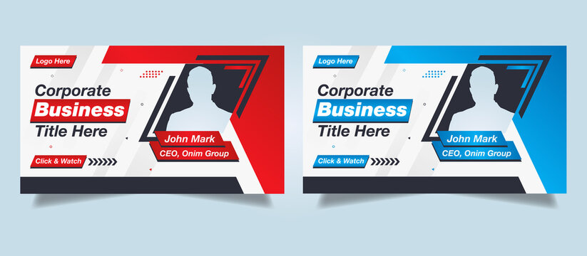 Editable Modern Creative Corporate business Abstract Professional web banner, web template, Youtube thumbnail & video thumbnail template