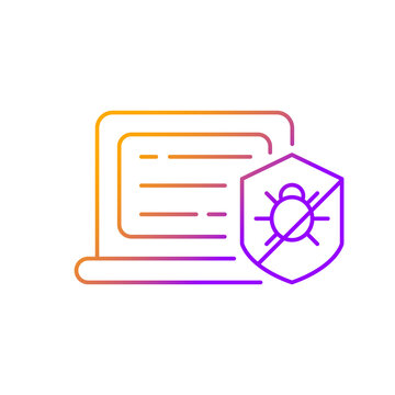 Antivirus software gradient linear vector icon. Anti-malware. Digital virus detection and removal. Providing security. Thin line color symbols. Modern style pictogram. Vector isolated outline drawing