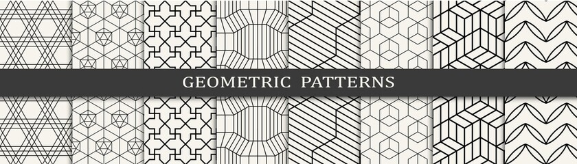 Fototapeta Set of geometric seamless patterns. Abstract geometric graphic design simple pattern. Seamless geometric lines pattern. obraz