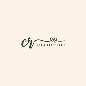 Initial Handwriting Logo Design Vector Letter CR