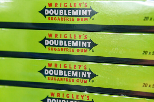 Tyumen, Russia-June 08, 2021: Doublemint and Spearmint chewing gums made by Wrigley. Logo
