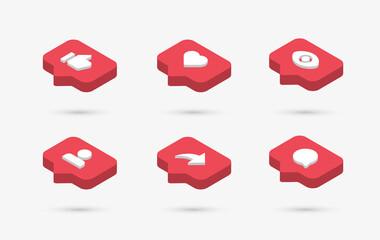 Fototapeta Social media notification icons in 3d speech bubbles like love comment share follower seen icon  obraz