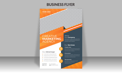 Fototapeta Corporate business flyer design and digital marketing agency brochure cover template with photo Free Vector obraz