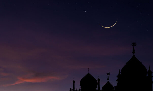 Silhouette dome mosques after sundown with crescent moon symbol of Islamic religion