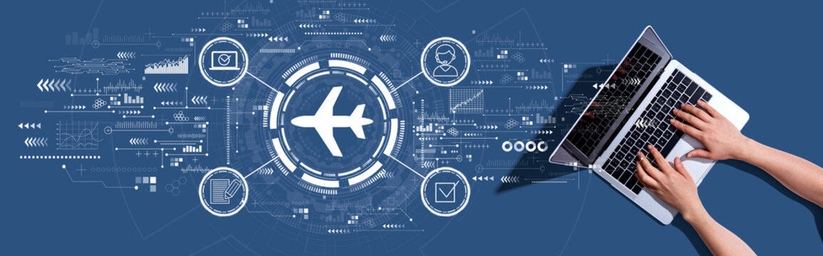 Flight ticket booking concept with woman using a laptop