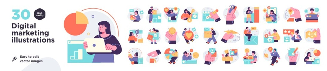 Fototapeta Digital Marketing illustrations. Mega set. Collection of scenes with men and women taking part in business activities. Trendy vector style obraz