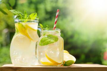 Fototapeta Fresh homemade lemonade with lemon and mint obraz