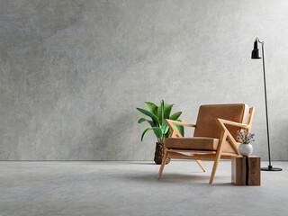Fototapeta Living room interior in loft apartment with armchair,concrete wall. obraz