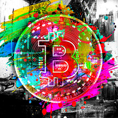 Colored Bitcoin logo with colorful abstract splatters on dark background