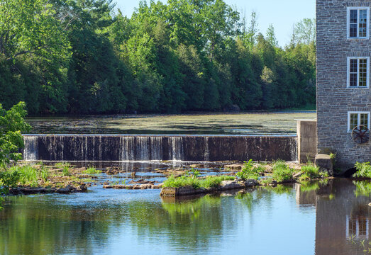 The weir at Spencerville Mill on the South Nation River in Spencerville, Ontario.