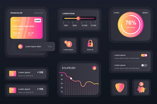 GUI elements for banking mobile app. Financial analytics of bank account, credit card balance user interface generator. Unique ui ux design kit vector illustration. Navigation and graphs components.